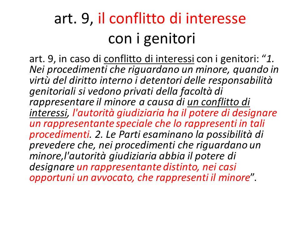 art. 9, il conflitto di interesse con i genitori