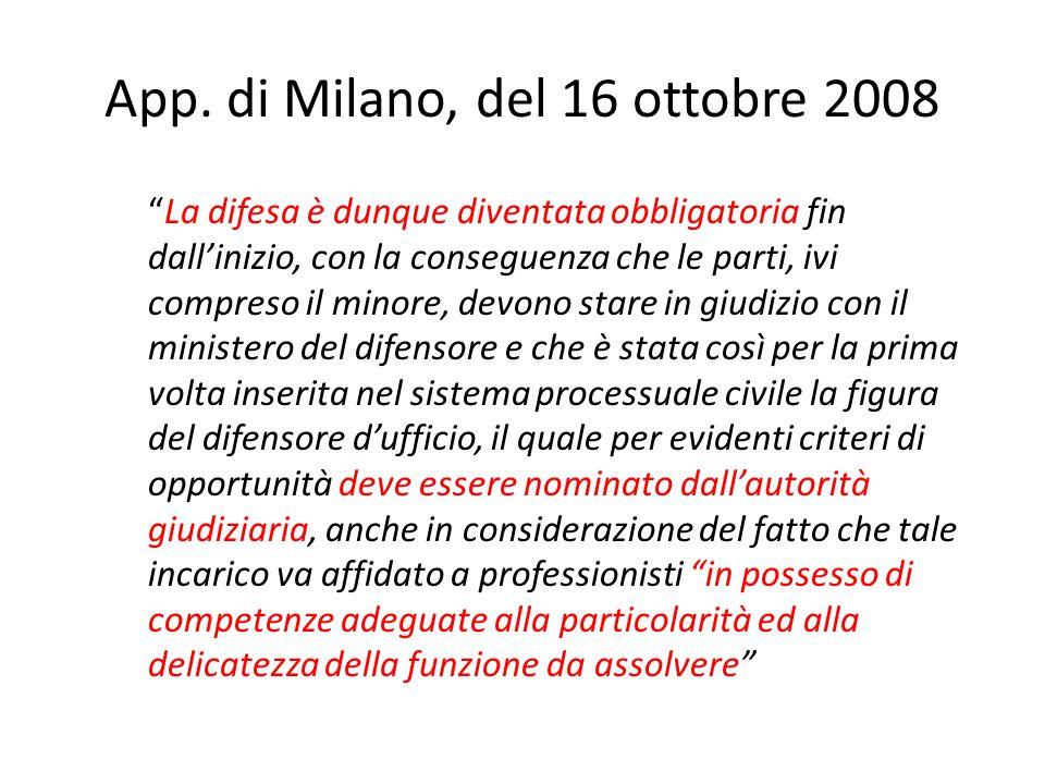 App. di Milano, del 16 ottobre 2008