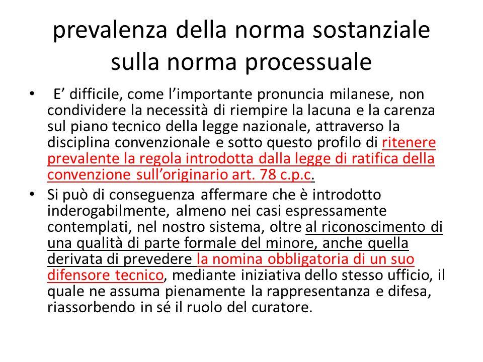 prevalenza della norma sostanziale sulla norma processuale