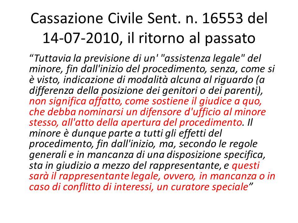 Cassazione Civile Sent. n. 16553 del 14-07-2010, il ritorno al passato