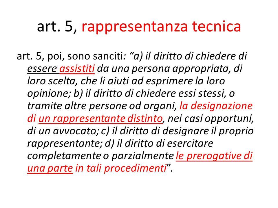 art. 5, rappresentanza tecnica