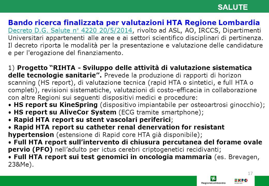 SALUTE Bando ricerca finalizzata per valutazioni HTA Regione Lombardia