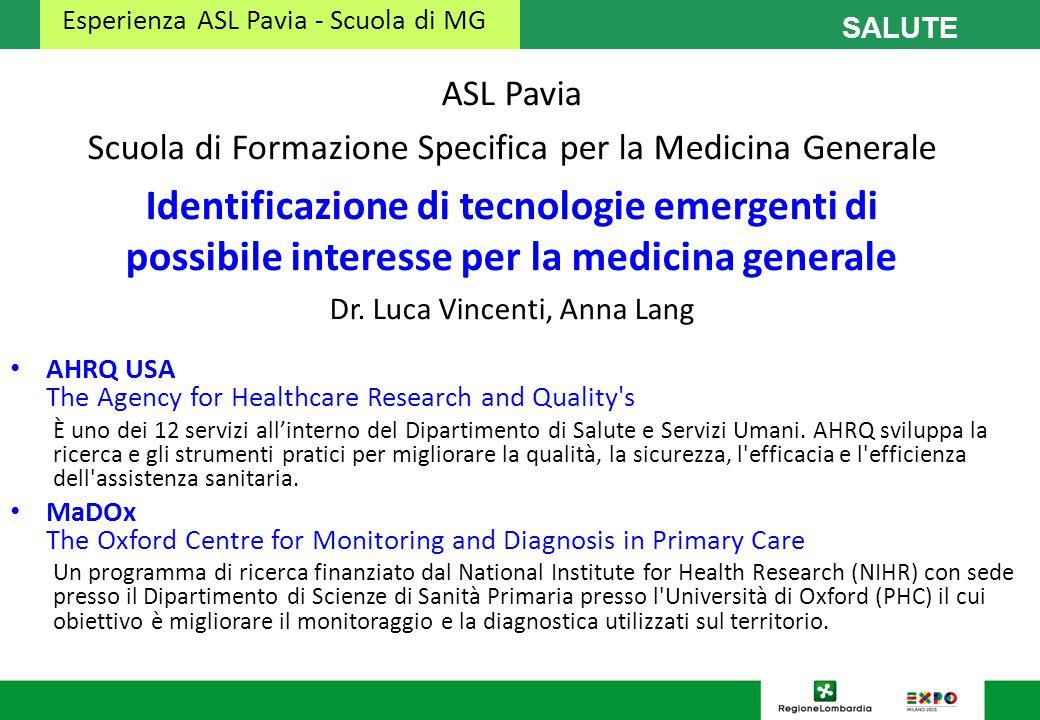 Esperienza ASL Pavia - Scuola di MG