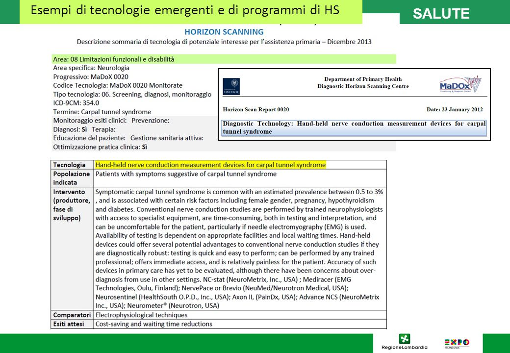 Esempi di tecnologie emergenti e di programmi di HS