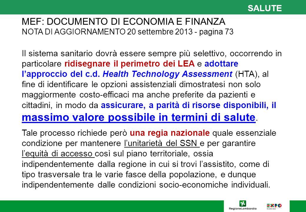 SALUTE MEF: DOCUMENTO DI ECONOMIA E FINANZA NOTA DI AGGIORNAMENTO 20 settembre 2013 - pagina 73.
