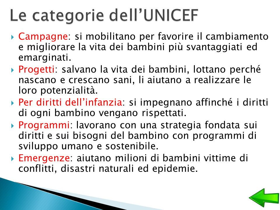 Le categorie dell'UNICEF