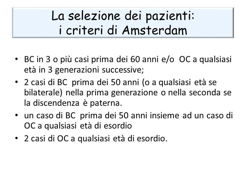 La selezione dei pazienti: i criteri di Amsterdam