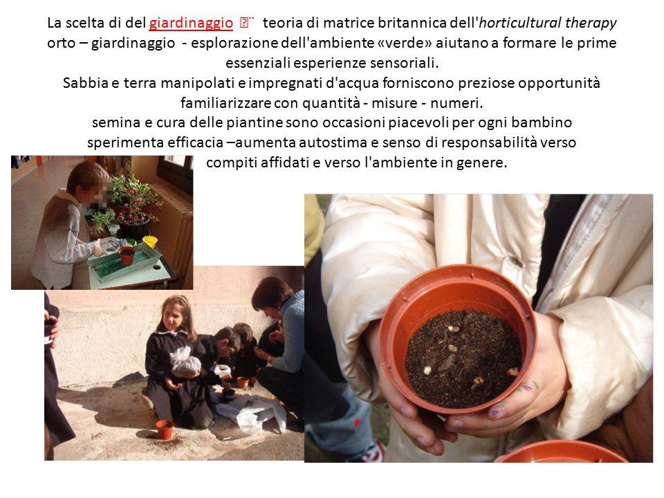 La scelta di del giardinaggio ¨ teoria di matrice britannica dell horticultural therapy orto – giardinaggio - esplorazione dell ambiente «verde» aiutano a formare le prime essenziali esperienze sensoriali.