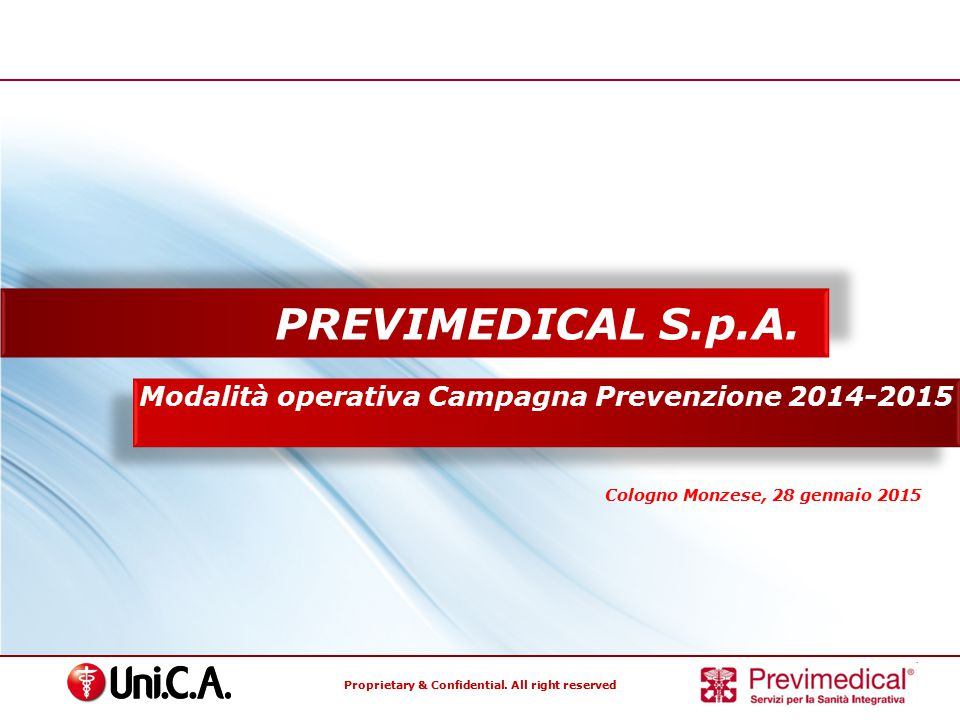 PREVIMEDICAL S.p.A. Modalità operativa Campagna Prevenzione 2014-2015