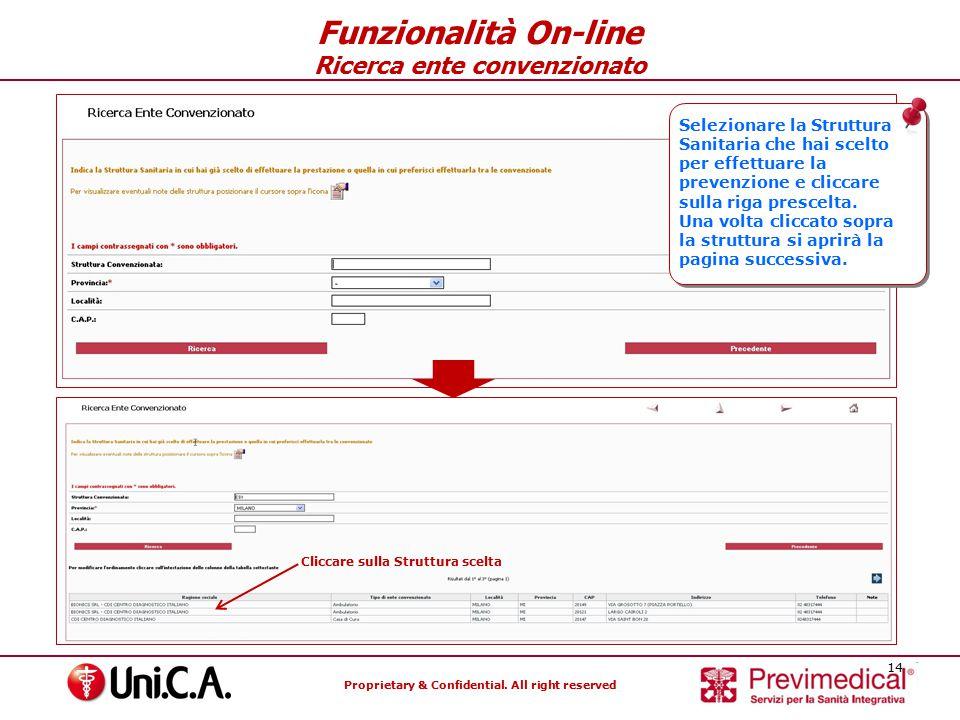 Funzionalità On-line Ricerca ente convenzionato