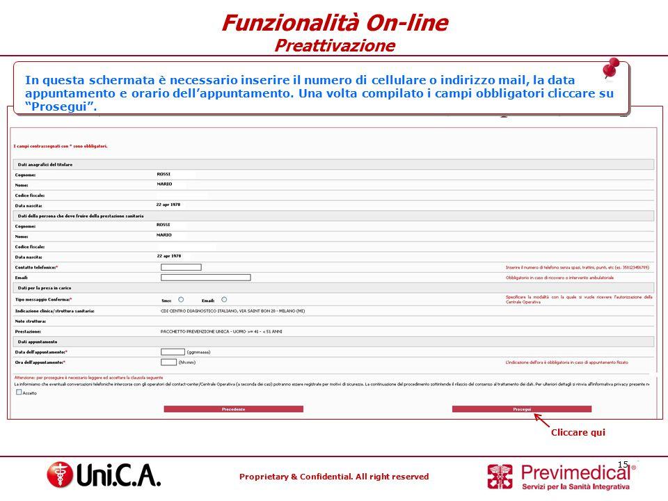 Funzionalità On-line Preattivazione