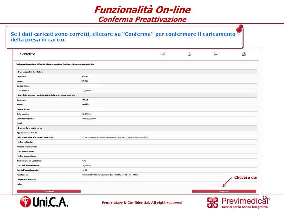 Funzionalità On-line Conferma Preattivazione