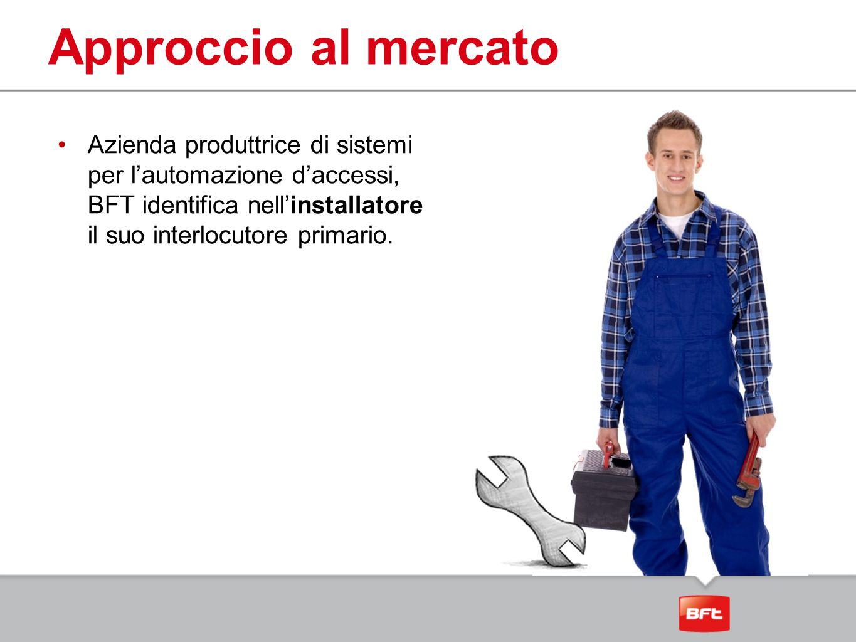 Approccio al mercato Azienda produttrice di sistemi per l'automazione d'accessi, BFT identifica nell'installatore il suo interlocutore primario.