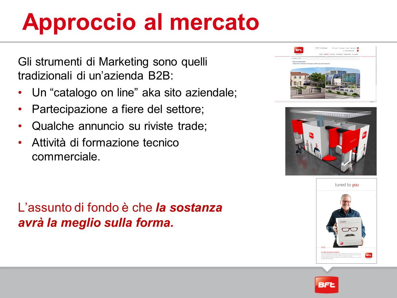 Approccio al mercato Gli strumenti di Marketing sono quelli tradizionali di un'azienda B2B: Un catalogo on line aka sito aziendale;