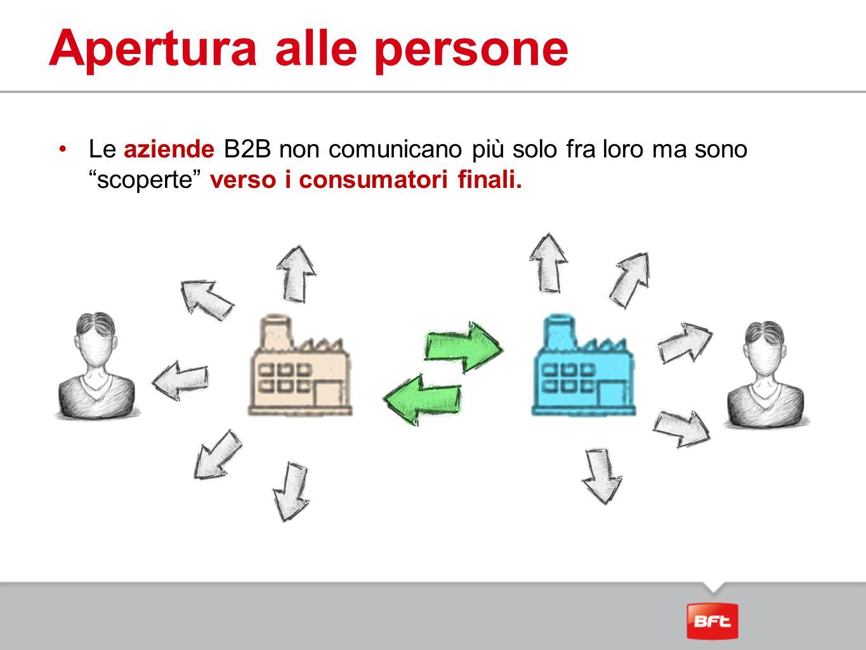 Apertura alle persone Le aziende B2B non comunicano più solo fra loro ma sono scoperte verso i consumatori finali.