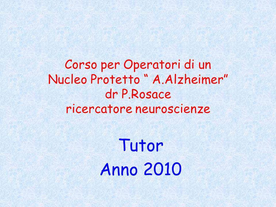 Corso per Operatori di un Nucleo Protetto A. Alzheimer dr P