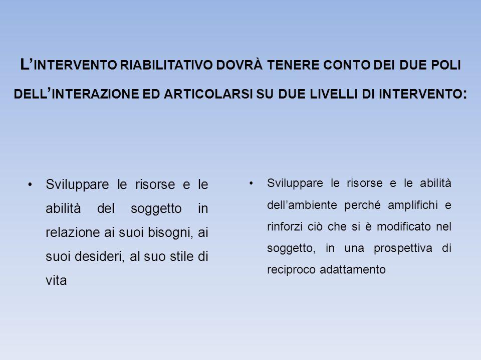 L'intervento riabilitativo dovrà tenere conto dei due poli dell'interazione ed articolarsi su due livelli di intervento: