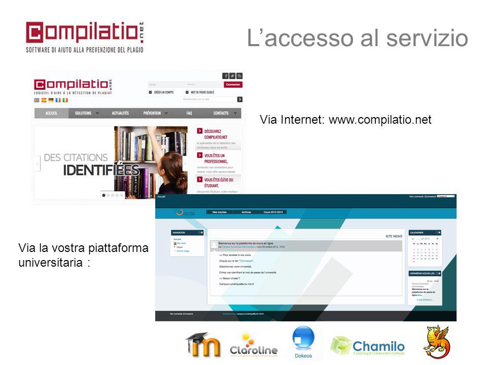 L'accesso al servizio Via Internet: www.compilatio.net