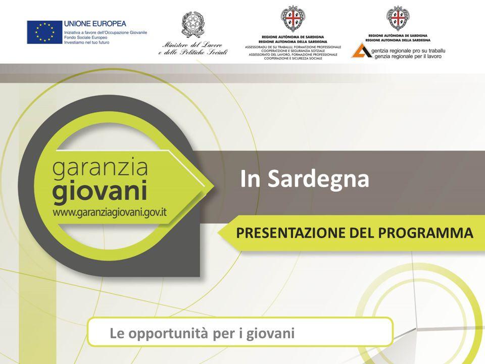 In Sardegna PRESENTAZIONE DEL PROGRAMMA Le opportunità per i giovani