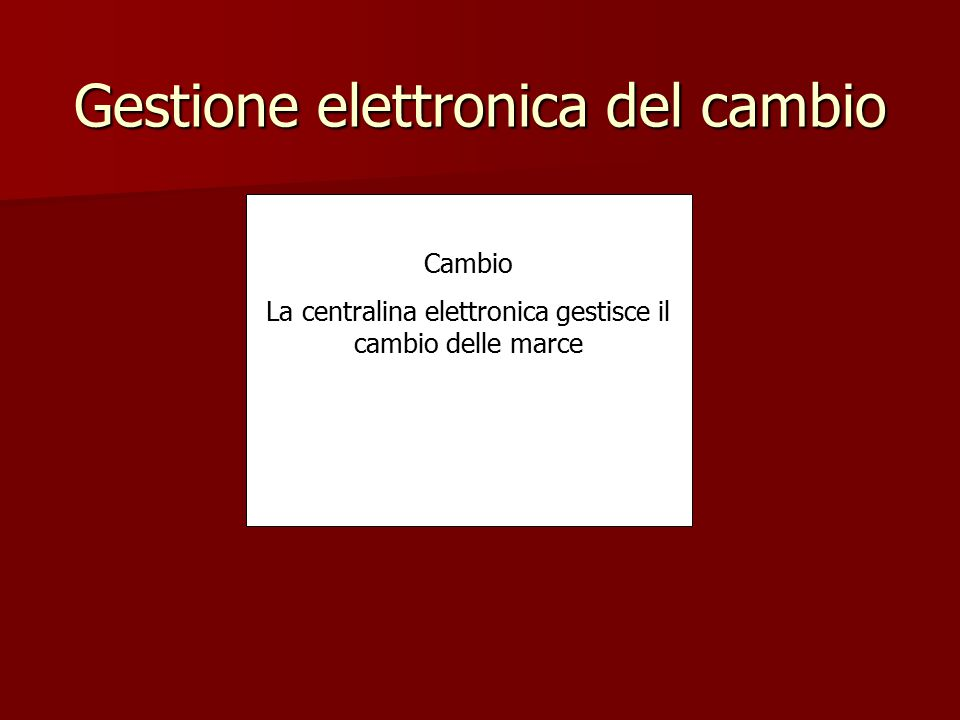 Gestione elettronica del cambio