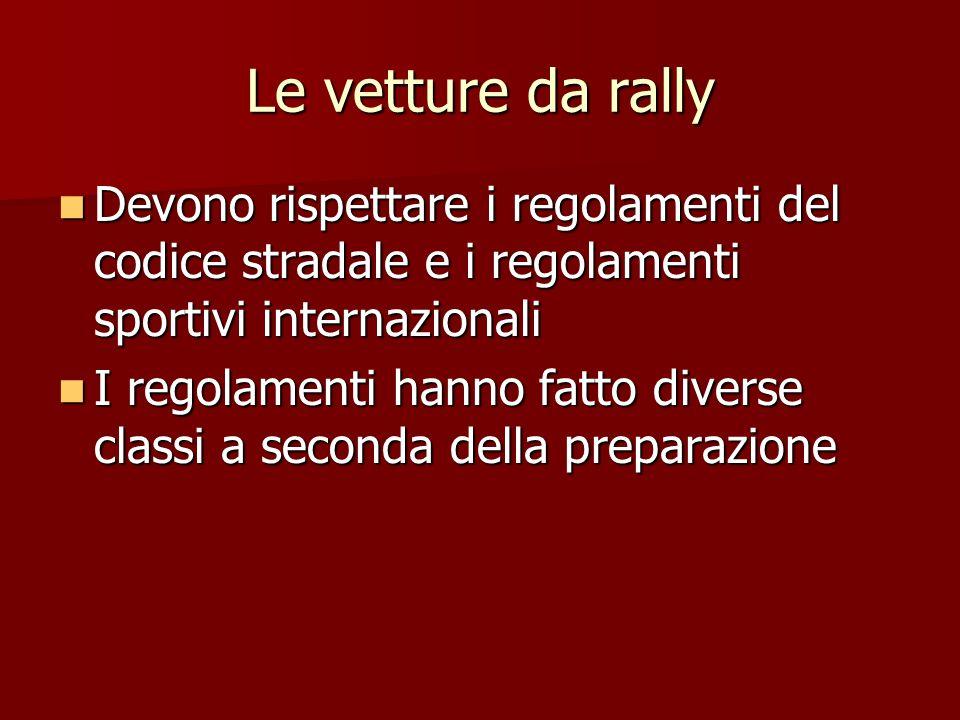 Le vetture da rally Devono rispettare i regolamenti del codice stradale e i regolamenti sportivi internazionali.