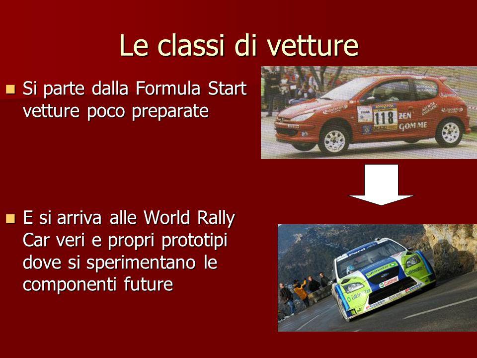 Le classi di vetture Si parte dalla Formula Start vetture poco preparate.