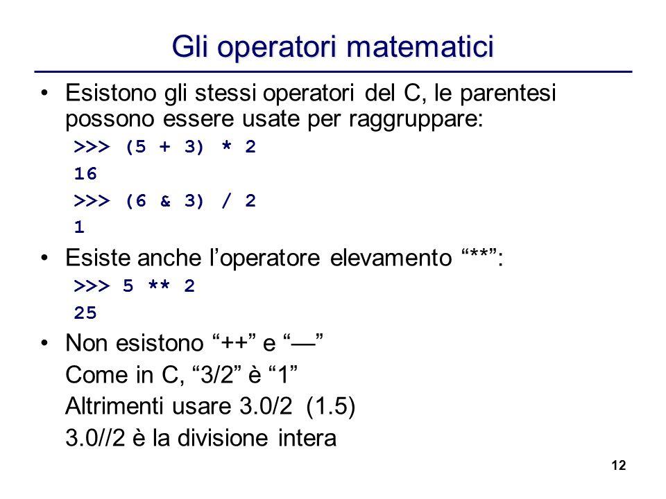 Gli operatori matematici