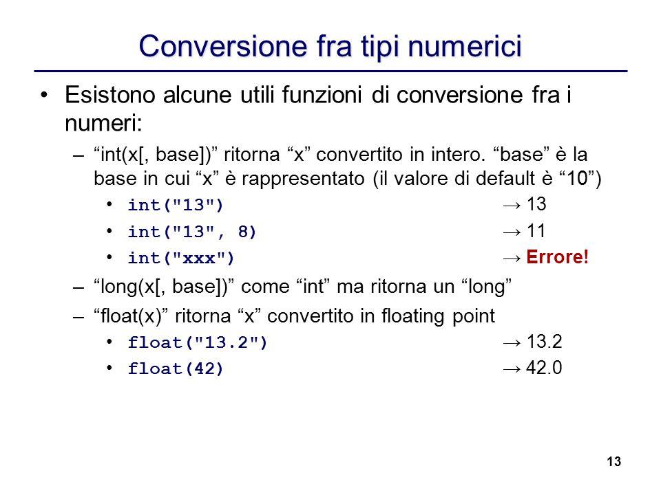 Conversione fra tipi numerici