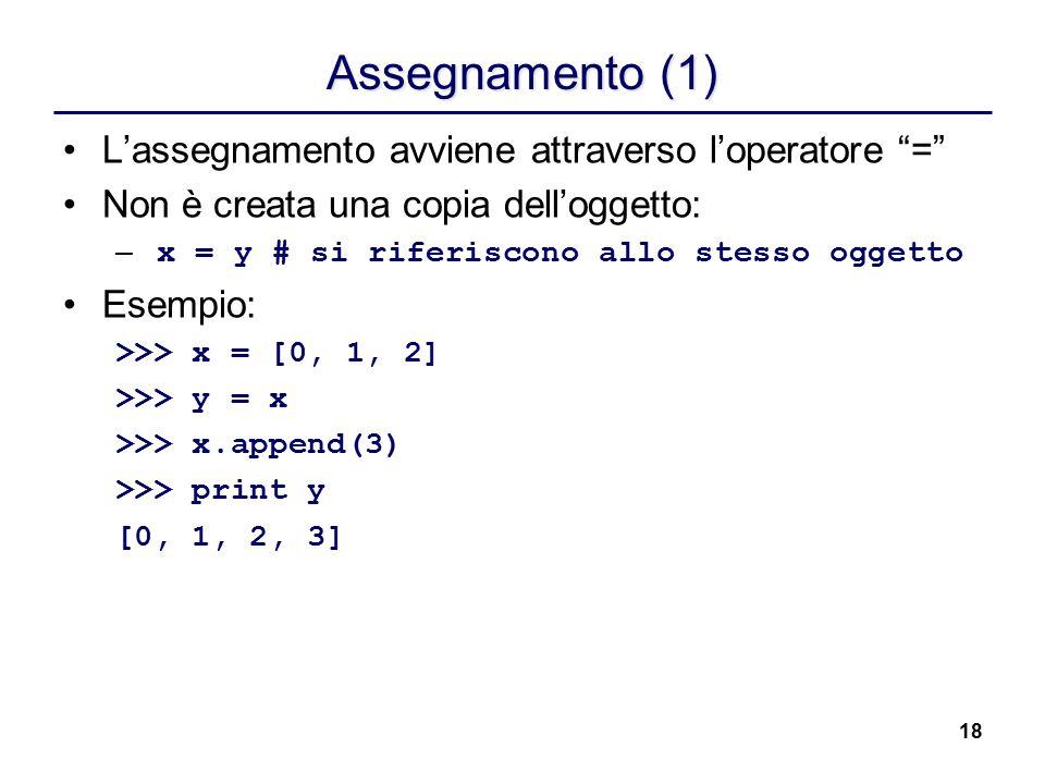 Assegnamento (1) L'assegnamento avviene attraverso l'operatore =