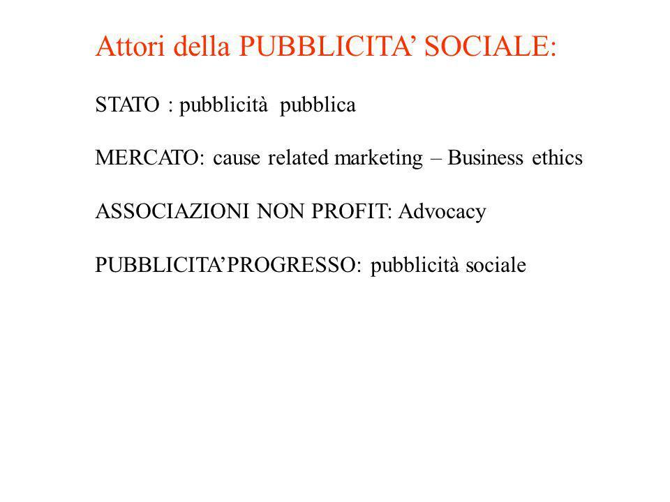 Attori della PUBBLICITA' SOCIALE:
