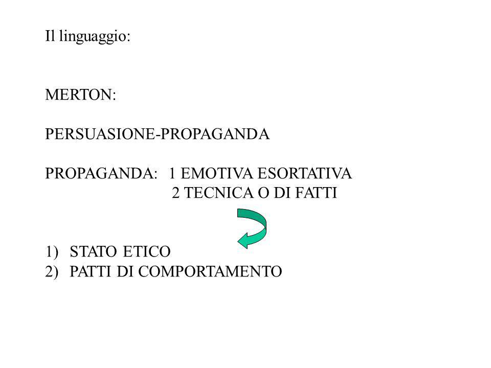Il linguaggio: MERTON: PERSUASIONE-PROPAGANDA. PROPAGANDA: 1 EMOTIVA ESORTATIVA. 2 TECNICA O DI FATTI.