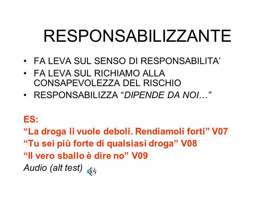 RESPONSABILIZZANTE FA LEVA SUL SENSO DI RESPONSABILITA'