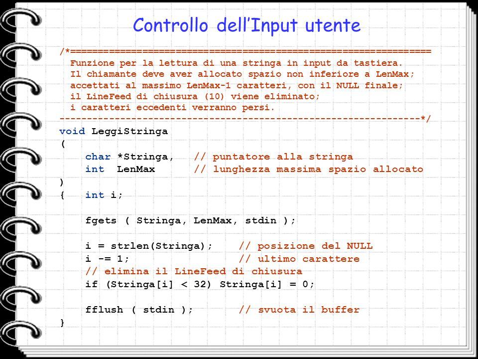 Controllo dell'Input utente