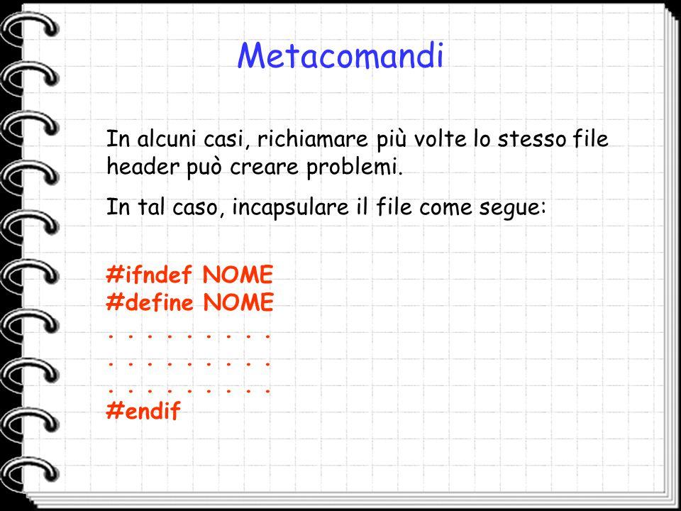 Metacomandi In alcuni casi, richiamare più volte lo stesso file header può creare problemi. In tal caso, incapsulare il file come segue: