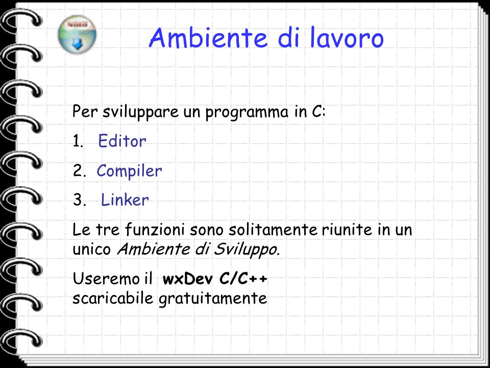 Ambiente di lavoro Per sviluppare un programma in C: Editor Compiler
