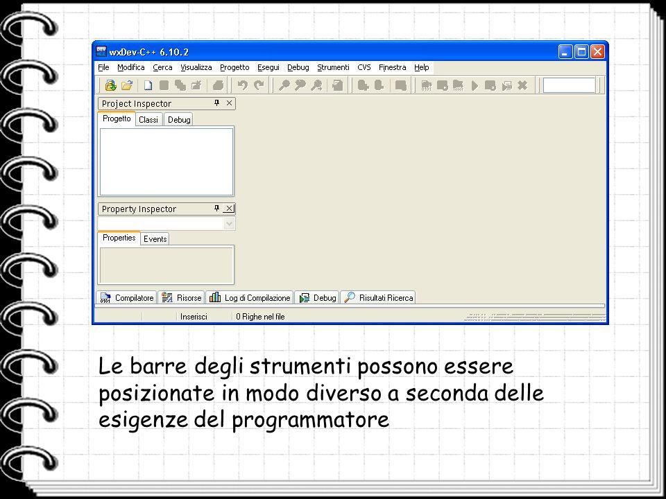 Le barre degli strumenti possono essere posizionate in modo diverso a seconda delle esigenze del programmatore