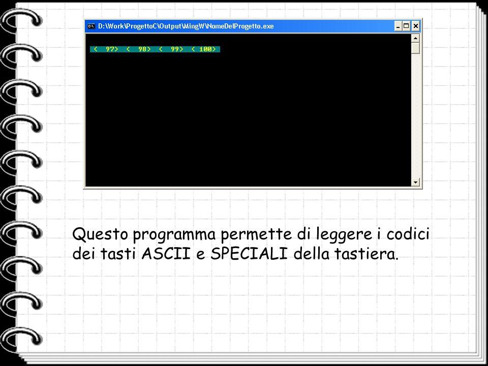 Questo programma permette di leggere i codici dei tasti ASCII e SPECIALI della tastiera.
