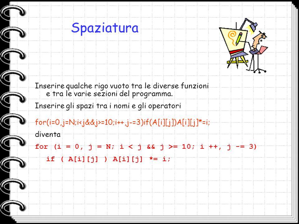 Spaziatura Inserire qualche rigo vuoto tra le diverse funzioni e tra le varie sezioni del programma.