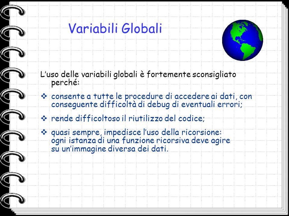 Variabili Globali L'uso delle variabili globali è fortemente sconsigliato perché: