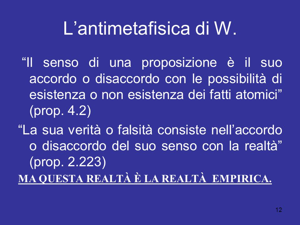 L'antimetafisica di W.