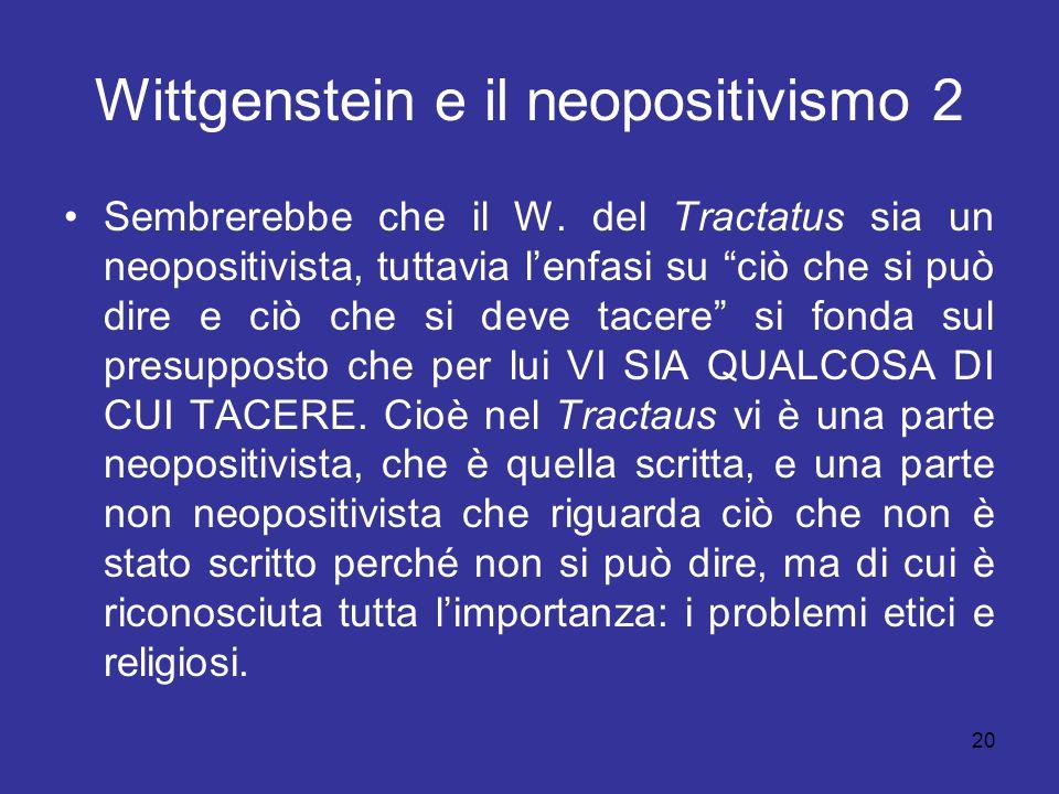 Wittgenstein e il neopositivismo 2