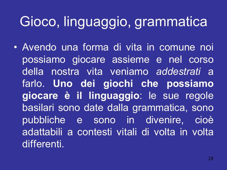 Gioco, linguaggio, grammatica
