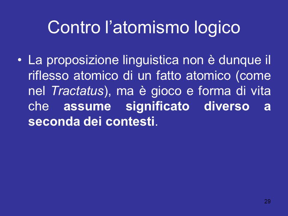 Contro l'atomismo logico