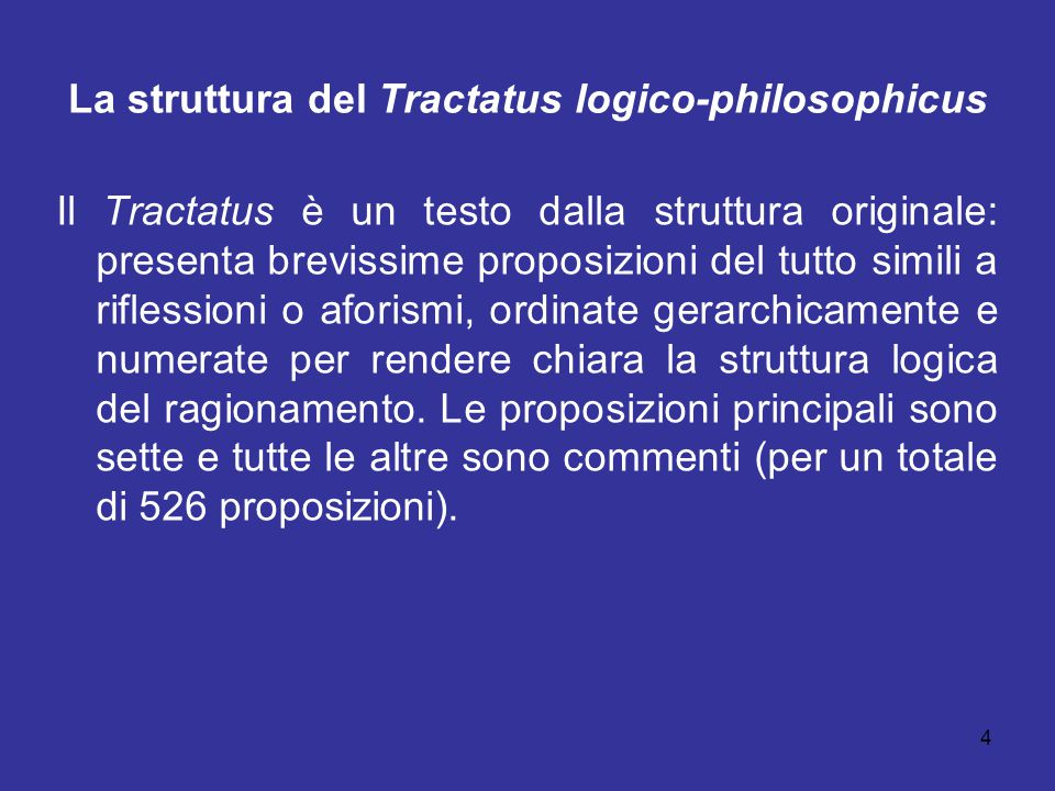 La struttura del Tractatus logico-philosophicus