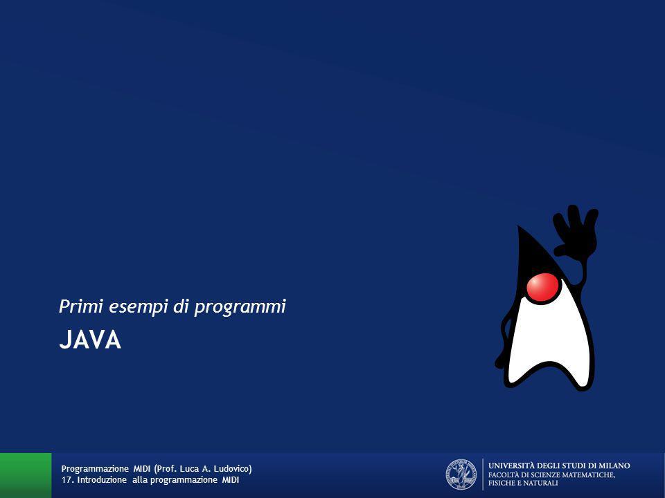 JAVA Primi esempi di programmi