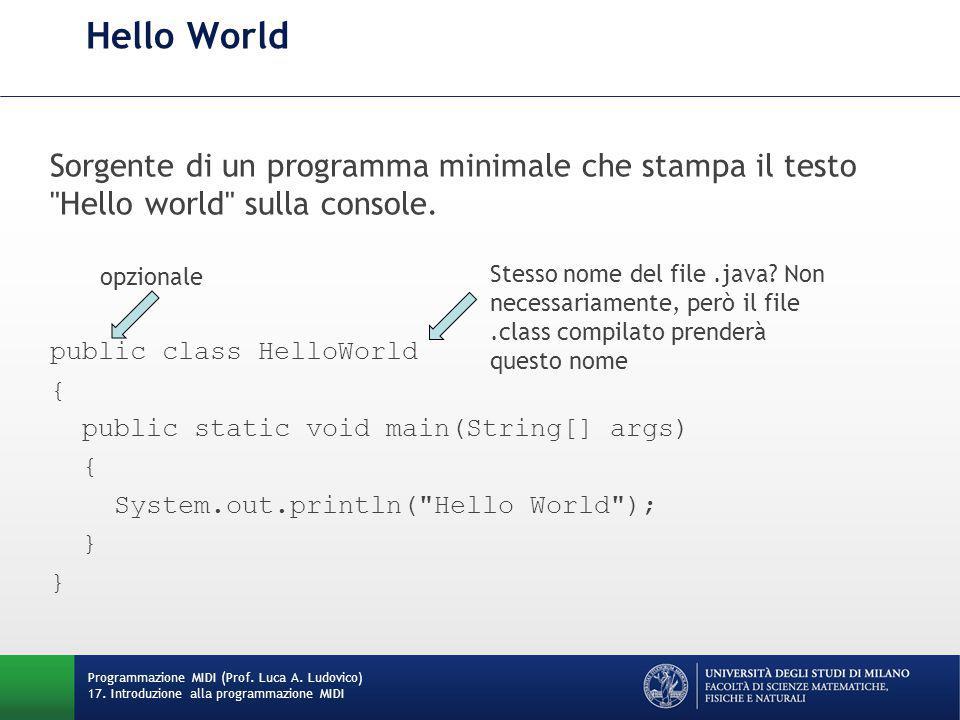 Hello World Sorgente di un programma minimale che stampa il testo Hello world sulla console. opzionale.