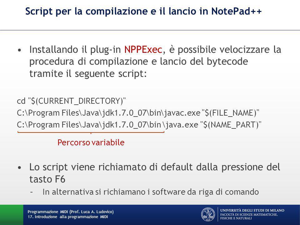 Script per la compilazione e il lancio in NotePad++