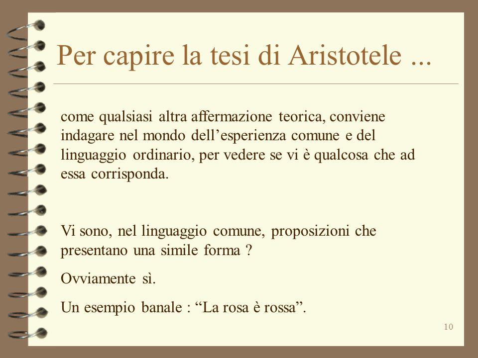 Per capire la tesi di Aristotele ...
