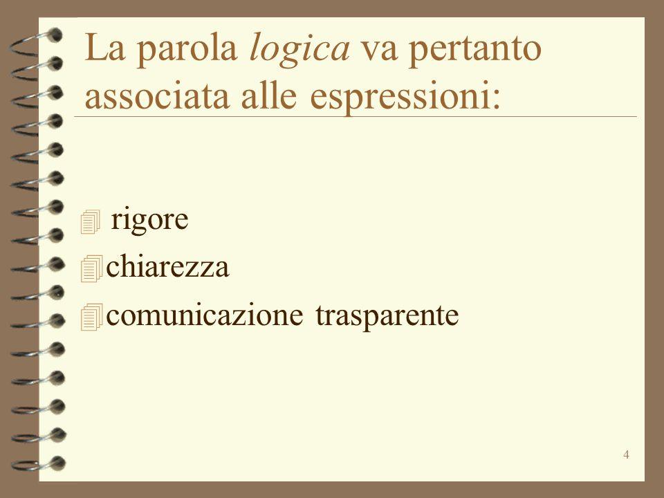 La parola logica va pertanto associata alle espressioni: