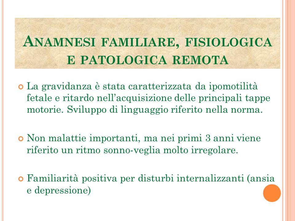 Anamnesi familiare, fisiologica e patologica remota